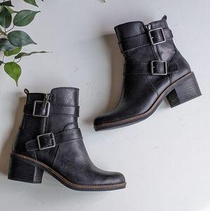 Lucky Brand Castillas Leather Heeled Moto Boots